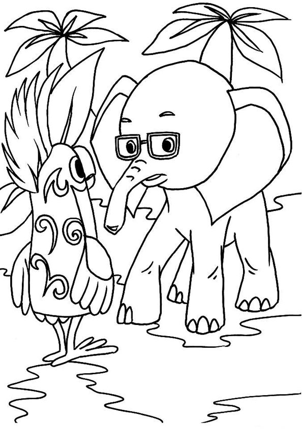 Попугай беседует со Слонёнком