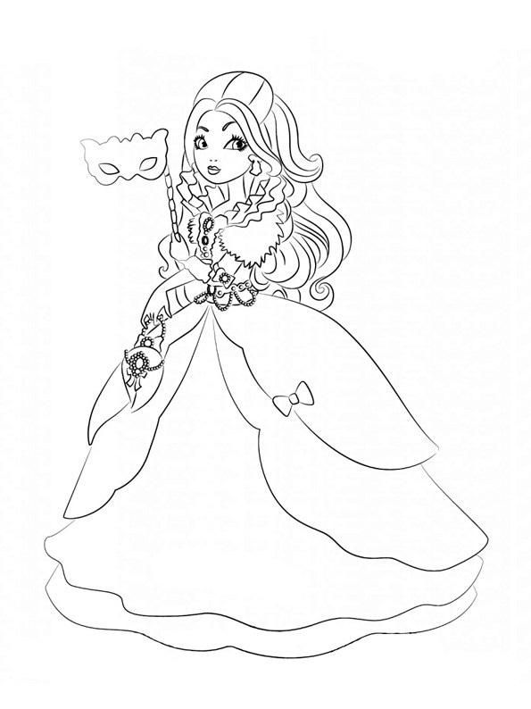 Эппл Уайт (Apple White) - дочь Белоснежки. Раскраска
