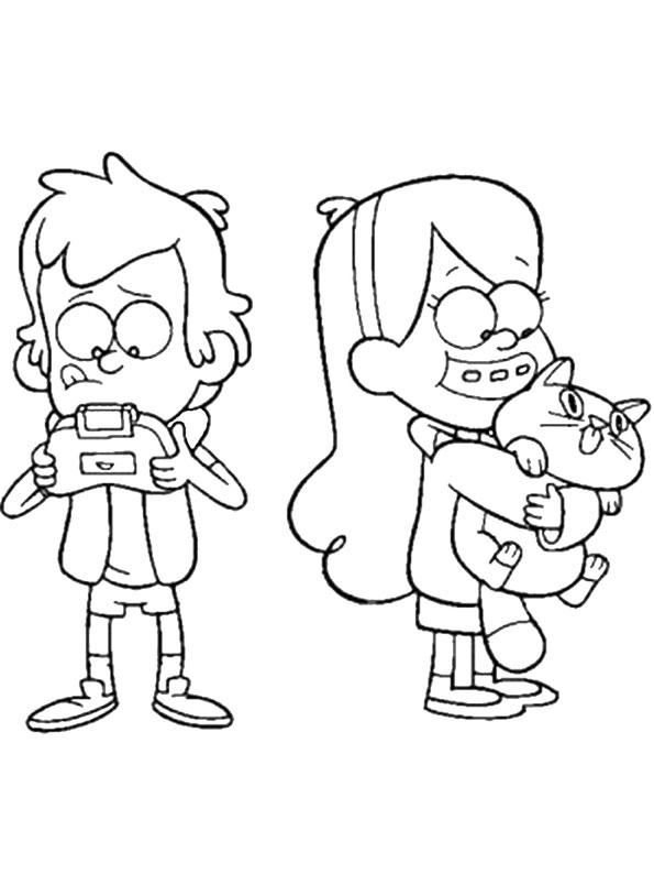 Диппер с игровой приставкой и Мейбл с плюшевым котёнком