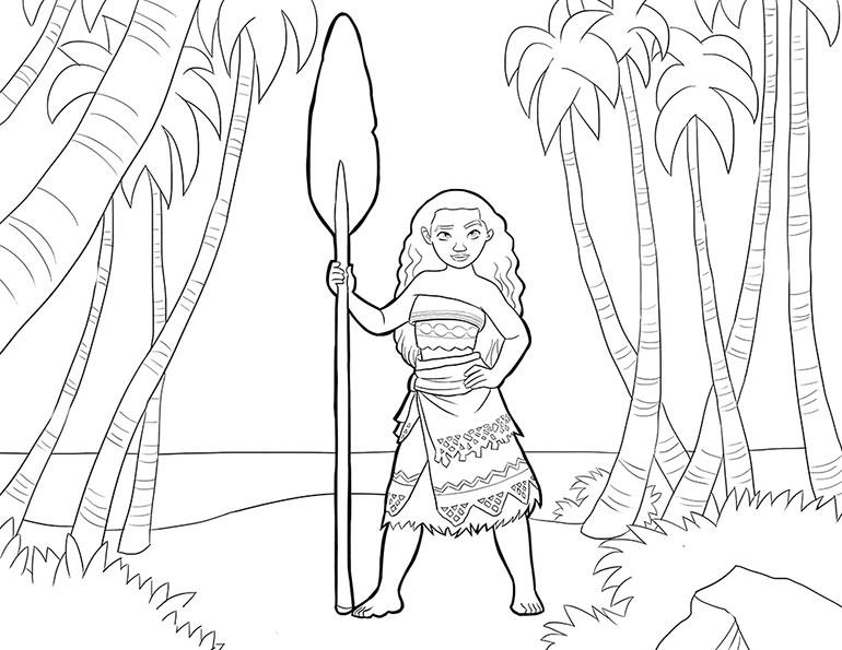 Моана с веслом