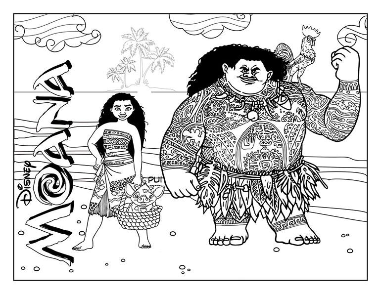 Герои мультфильма «Моана». Постер-раскраска