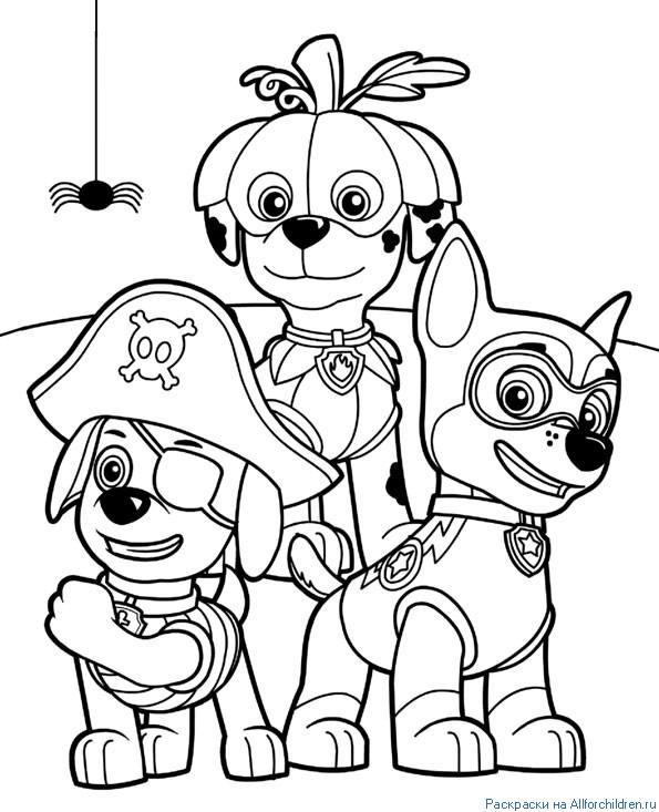 Зума, Маршалл и Гочик (Чейз) в маскарадных костюмах