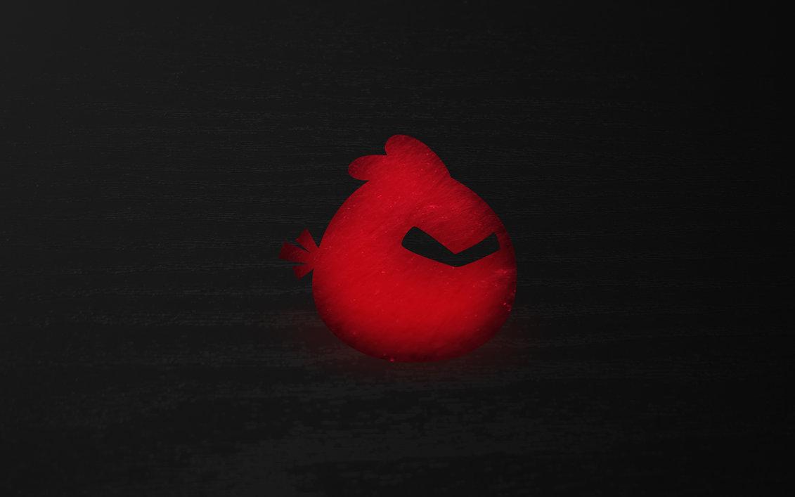 Angry Birds. Птица ред на чёрном фоне