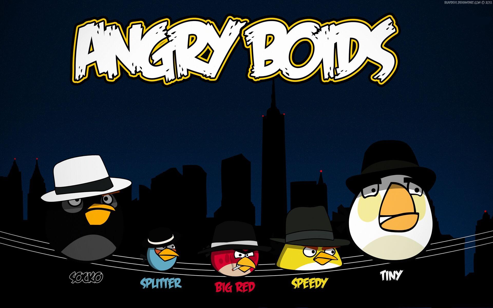 Angry Birds. Птицы, сидящие на проводах