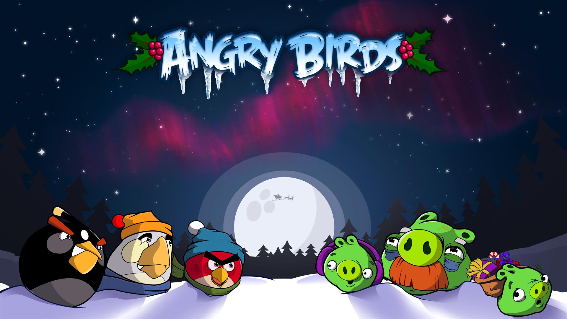 Зимние обои с Angry Birds